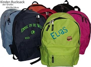 Schule,Kindergarten Kinder-Rucksack Tasche (groß) mit NAMEN & Motiv bestickt - 1